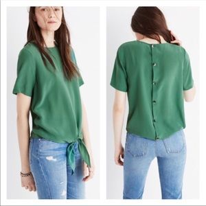 Madewell Silk Button Back Front Tie Blouse